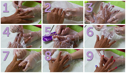 Manicure treatment using Glove BalbCare